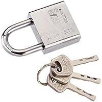 Sungpunet Edelstahl Vorhängeschloss 40 mm mit 3 Schlüsseln für Innen- und Außentore Schuppen Schließfächer Fahrräder Werkzeugkiste oder Behälter Silber