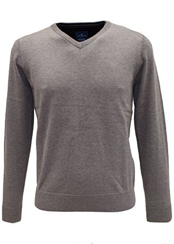 TOM TAILOR Herren Pullover Basic V-Neck Sweater Grau (Snow Slush Grey Melange 2819)