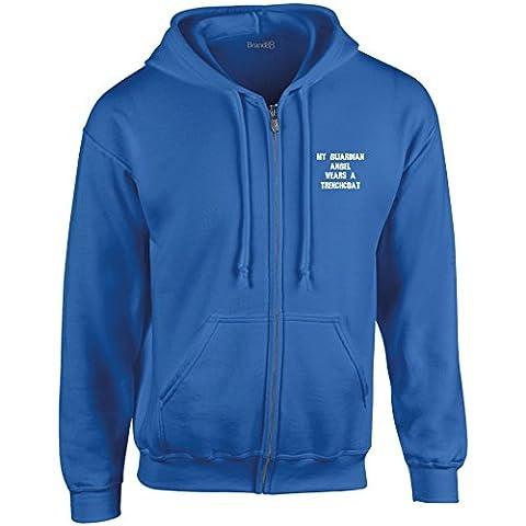 Myn Guardian Angel Wears A Trenchcoat, Heavy Blend™ Full Zip Hooded Sweatshirt - Royal/White 3XL