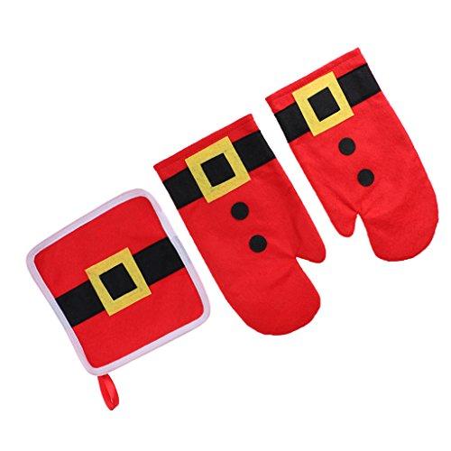 Baoblaze Santa Kostüm Form Weihnachten Mikrowellenhandschuhe Ofenhandschuhe und Topflappen Rot (Jubel Kostüm)