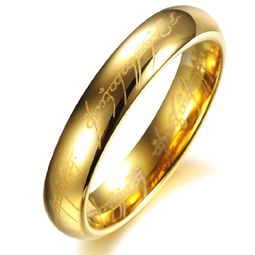 COPAUL Schmuck Damen Wolfram Wolframcarbid Hochglanz Poliert Partnerringe Freundschaftsringe Eheringe Trauringe Verlobung Ringe Band,Gold