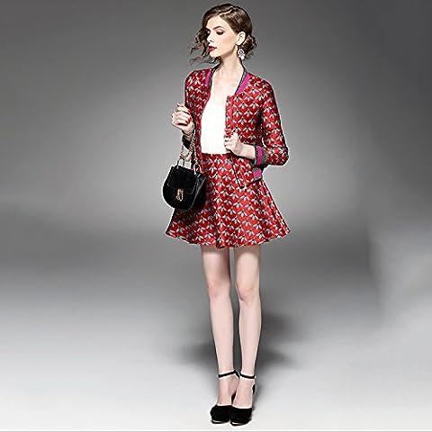 BIU vestito i vestiti di svago delle donne a maniche lunghe autunno jacquard stampato api tutu vestito e la moda invernale , red ,