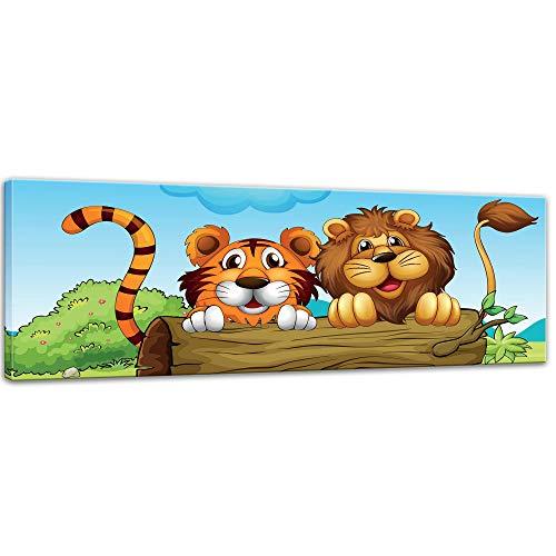 Kunstdruck - Kinderbild - Löwe und Tiger Freundschaft - 90 x 30 cm - Bilder als Leinwanddruck - Wandbild von Bilderdepot24 - Kinder - Grosskatzen hinter einem Baumstamm