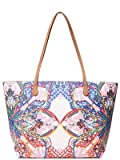 Desigual Mexican Cards Capri Zipper Shopping Bag Azul Agua