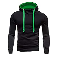 VEMOW Pullover Hoodies for Men, Long Sleeve Casual Sweatshirt Solid Outdoor Sports Tops with Pocket(Black,M)