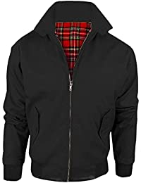 MyShoeStore Vintage Harrington Jacket Adults Unisex Mens Ladies Womens Harrington Classic Retro Scooter 1970'S Bomber MOD Skin Tartan Lining Coat Top Size XS-5XL