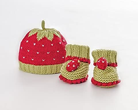 Hand-Knitted Strawberry Baby Hat and Booties Set