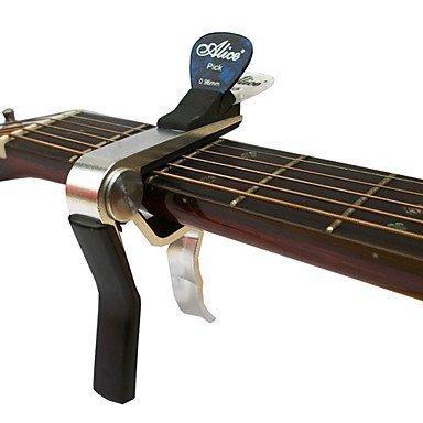 Capo Universal para Guitarra Eléctrica y Acústica - Soporte de Plectro Integrado - Cromado