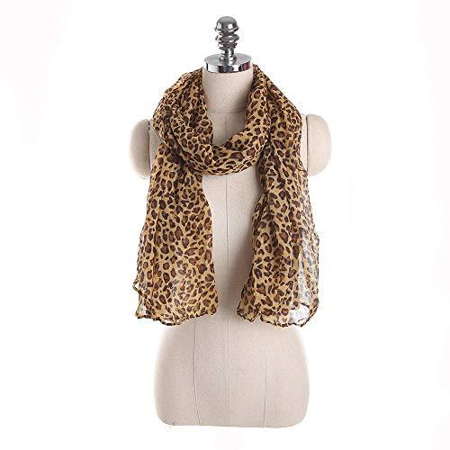 TDPYT Frauen Leopardenmuster Chiffon Schals Damen Seidenschals Schals Beachwear Schal Female Wraps Schals-Gelb