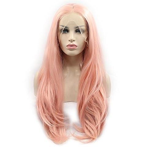 SHKY Rosa Natural Wave synthetische Spitze Front Perücke mit mittlerem Teil natürlich aussehen Hitze resistent Faser Haare für weiße Frau , 22