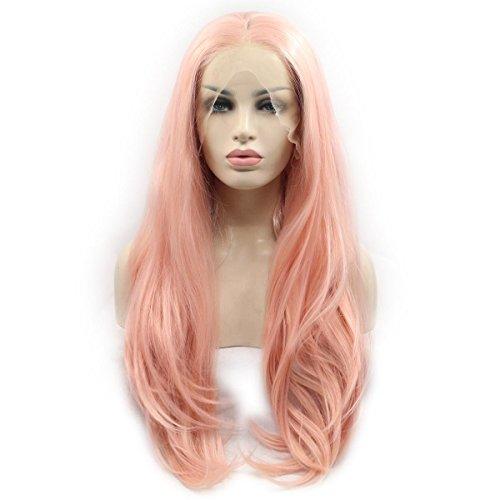 SHKY Rosa Natural Wave synthetische Spitze Front Perücke mit mittlerem Teil natürlich aussehen Hitze resistent Faser Haare für weiße Frau , 22 inches (Abba Kostüme Zu Machen)