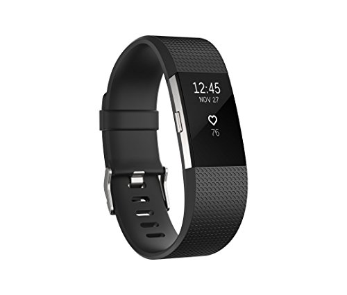 Fitbit Charge 2 Wireless Activity Tracker and Sleep Wristband (Large, Black/Silver)