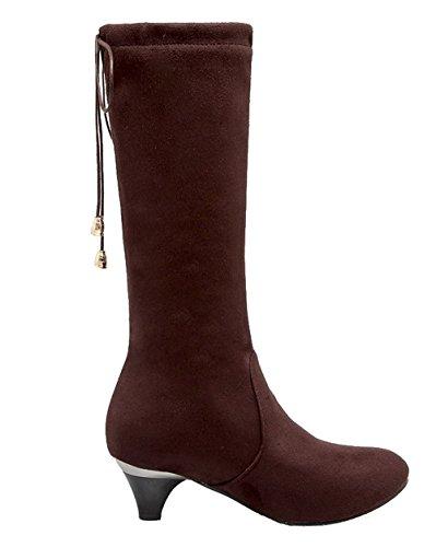 Bottes Unie Suede AgeeMi Correct Talon Brun Shoes Pointu Femme Couleur à Tire wvT4Uvq