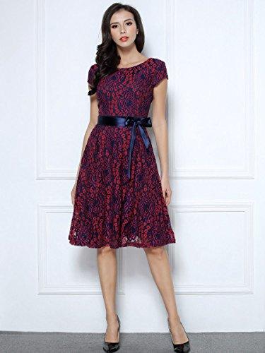 Miusol Kleid Elegant Hochzeit Brautjungfer Mini Spitzenkleider Abendkleider Rot - 6