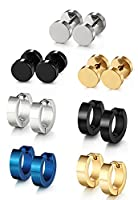 Sailimue Stainless Steel Stud Earrings for Men Women Huggie Hoop Earrings