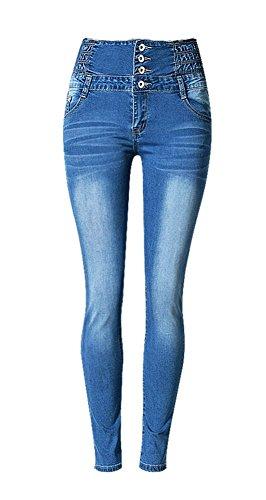 iRachel Damen High Waist Jeanshose Denim Hose Skinny Jeans Hosen