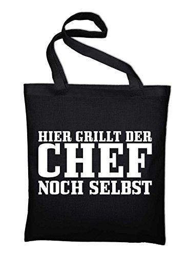 Hier grillt der Chef noch selbst Jutebeutel, Beutel, Stoffbeutel, Baumwolltasche, schwarz Schwarz