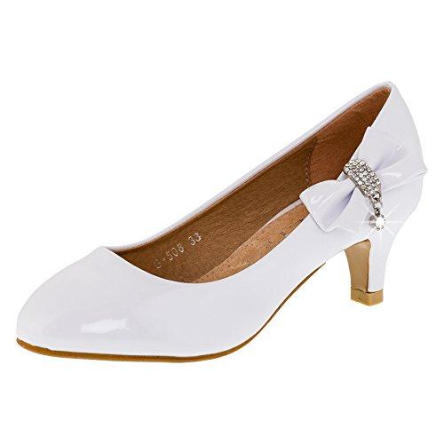 Wunderschöne Mädchen Pumps Schuhe in vielen Farvarianten (30, #137ws Weiss) (Tanz Leder Pumps)