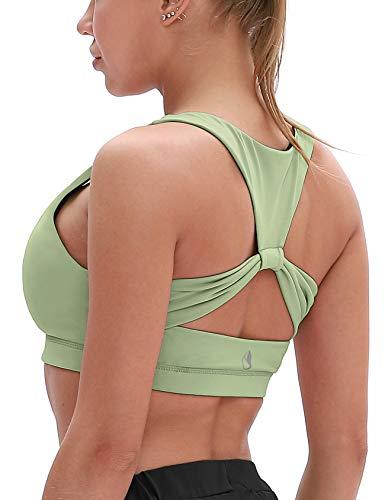 icyzone Damen Sport-BH mit Gepolstert Yoga BH Starker Halt Bustier Stretch Sports Bra Fuer Fitness-Training (Pastel Green, M)