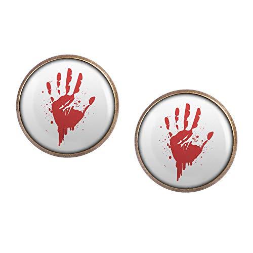 Agent Kostüm Cia - Mylery Ohrstecker Paar mit Motiv Hand-Abdruck Blut Rot Hand bronze 16mm