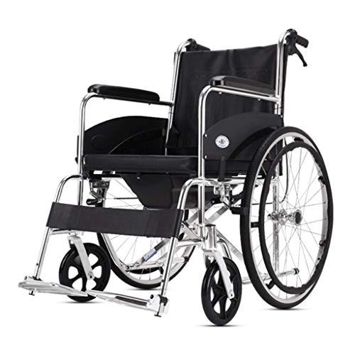 LUNYI Lite Rollstuhl Mit Eigenantrieb, Gehbehinderter Walker Folding Portable Black