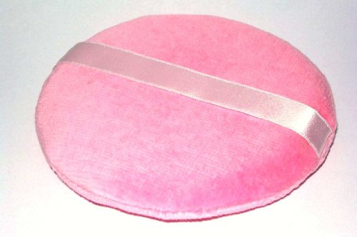 Houppe ronde maquillage coton 2 faces rose 10cm