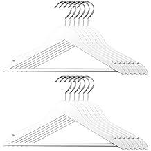 12er Set Kinder Kleiderbügel   Holz / Metall, Weiß, 32 X 20 Cm (