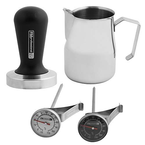 FMprofessional Barista Set, Tamper für Das ideale Kaffeemehl, Milchkännchen für den perfekten...
