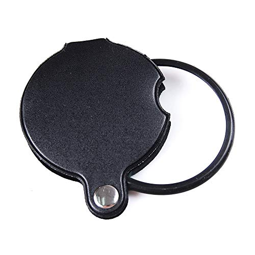 euwanyu 5X 60mm Magnifier Pocket Folding Magnifying Glass Loupe Pocket Spiege (Black) -