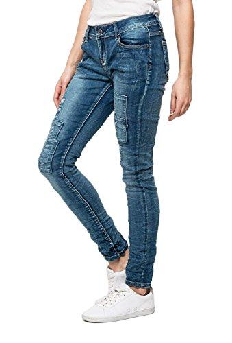 Damen Jeans Hose Stretch Röhrenjeans Patchwork Slim Destroyed Hüftjeans Skinny, Hosengrösse:M (Jeans-patchwork Blaue)