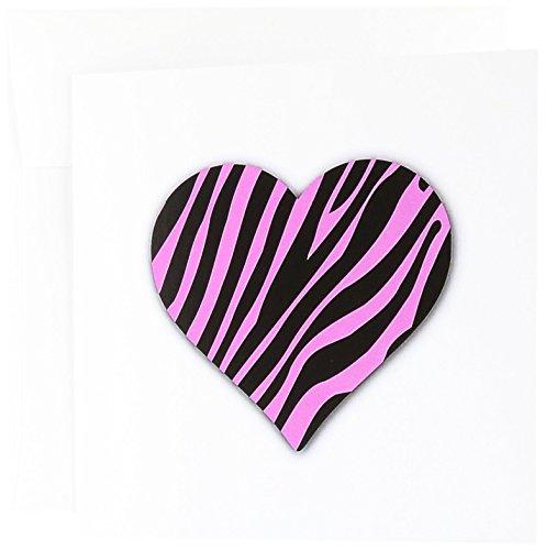 Pink Zebra Print Love Herz-Hot Pink Tier Muster-Grußkarten, 15,2x 15,2cm, Set 12(GC 184882_ 2) - Pink Einladungen Hot Geburtstag