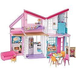 Barbie Mobilier La Maison à Malibu repliable pour poupées, deux étages et plus de 15 accessoires, jouet pour enfant, FXG57