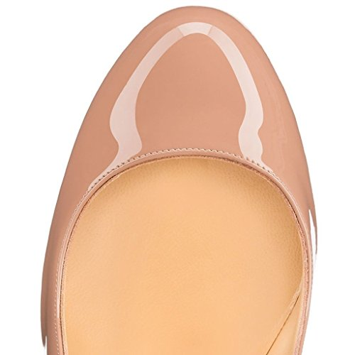 Mermaid Women's Shoes Stiletto High Heel Round Toe Pumps-Nude-9