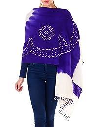 Cadeaux violet bleu Creamwomen'S accessoire châle indien laine Tie-Dye à la main pour Grandma 36x80 pouces