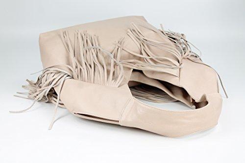 Belli bellissima ® «b» étui sac à shopping en cuir nappa à franges couleur 34 x 23 x 17 cm (l x h x p) Beige rosé