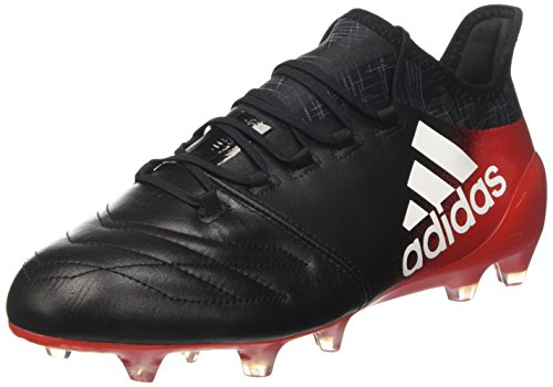 adidas X 16.1 Leather Fg, Scarpe da Calcio Uomo Nero (Core Black/footwear White/red)