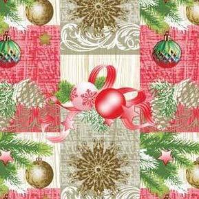 Toile Cirée Nappe Table au Mètre Noël K848-2 Taille Sélectionnable en Carré Rond (E), Ovale - Bariolé, 140 x 250 cm Oval