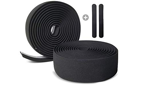Kellago Langlebiges Profi Lenkerband in schwarz [Griffband für Rennrad aus extra robustem und griffigem Schaumstoff incl. Klebestreifen/Fahrrad ] (1. ohen Endkappen)