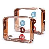 LOLOMODA Beauty Case da Viaggio 2Pcs, Cosmetici Trousse Trasparente, Kit da Aereo per Liquidi, Sacchetti di Trucco PVC per Uomini e Donne