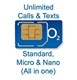 OFFICIAL O2 PAY AS YOU GO SIM - 4G READY - ( 4GB Internet Data, 3000 minutes 4000 texts ) - STANDARD/MICRO/NANO -> Fits All Device.