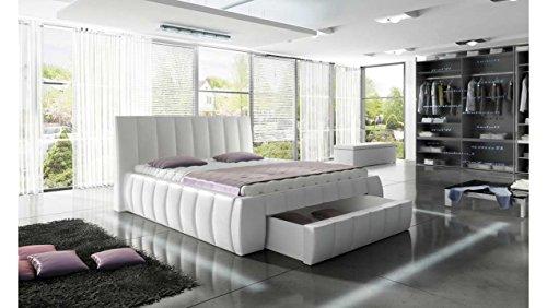JUSTyou Roma Polsterbett Doppelbett Ehebett Kunstleder (BxLxH): 214x227x120 cm Weiß