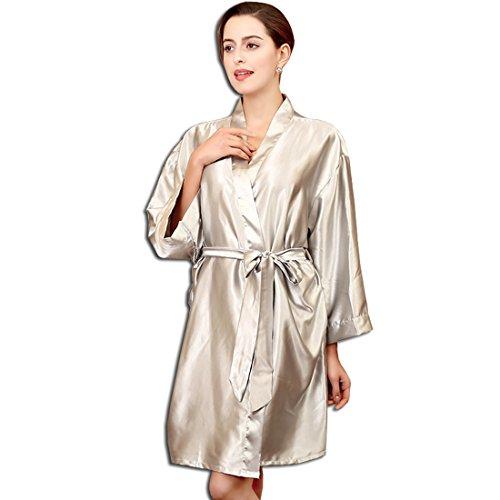 KAXIDY Robes de Chambre Kimonos Peignoir Pyjama Fille Femme Robe de Bain Robe de Chambre Gris Argenté
