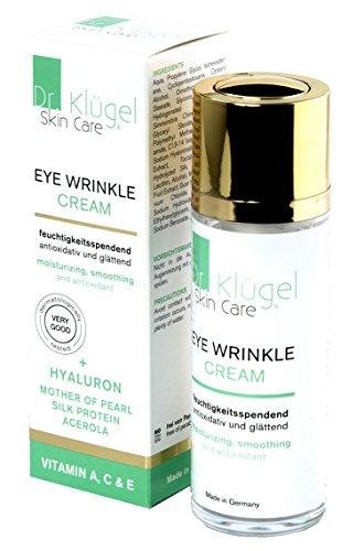 Augencreme gegen Falten und Augenringe 30ml - Anti-Aging Augenfaltencreme mit Jojobaöl, Hyaluron, Vitaminen - Dr. Klügel Eye Wrinkle Cream