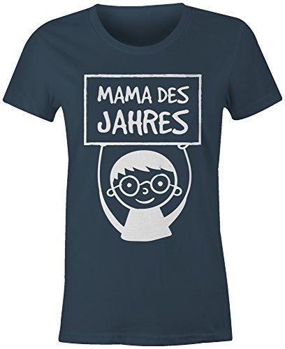 Mama des Jahres ★ Rundhals-T-Shirt Frauen-Damen ★ hochwertig bedruckt mit lustigem Spruch ★ Die perfekte Geschenk-Idee (03) dunkelblau