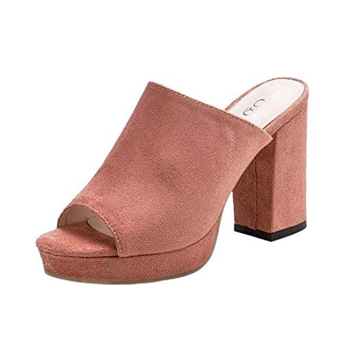 Longra Colore solido Moda Donna Flock Tomaia Tacchi alti Tacchi alti Sandali infradito Sandali di pesce Rosa