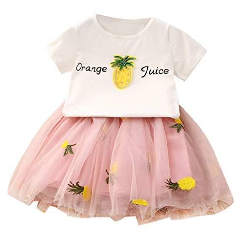 Weant Baby Kleidung Mädchen Keider Festlich Outfits 2PCS Ananas drucken Tops + Mesh Röcke Partykleid Sommerkleid Prinzessin Kleid Kinder Kleider Baby Bekleidungssets Neugeborenen Bekleidungset