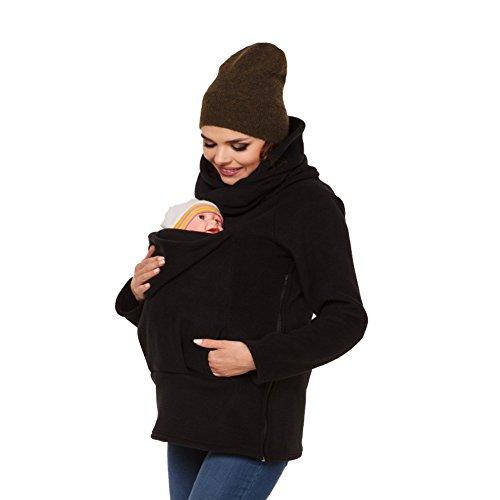 (MissChild Damen Babytrage 3 in 1 Baby Carrier Umstandsjacke Hoodies Neugeborene Känguru Jacken Hoodie Freizeitjacke Sweatshirt Mommy Kangaroo Mantel Schwarz Label 2XL (Büste 110-116cm))