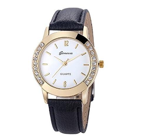 ★ Loveso ★-Armbanduhr elegant Genf Art und Weise Frauen-Diamant analoge lederne Quarz-Armbanduhr