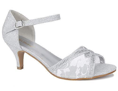 MaxMuxun Sandalen Damen Spitze Glitzer Kitten Heel Pumps Weiß Größe 40 EU Floral Peep-toe-heels