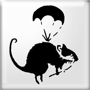The Stencil Studio Pochoir réutilisable Motif style Banksy Rat parachute A5taille